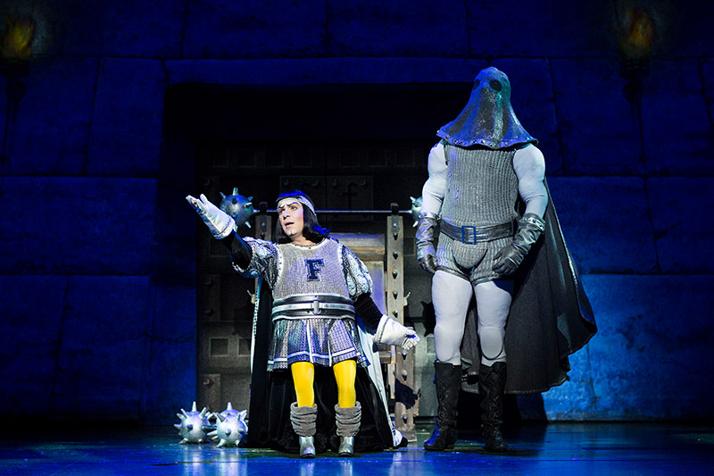 Gerard Carey (Lord Farquaad) and Shrek the Musical 2015 company.
